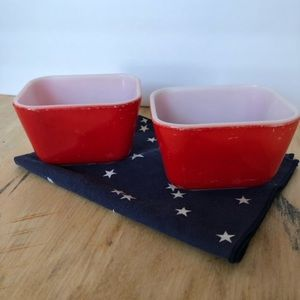 Small Vintage Red Pyrex Refrigerator Dish-Set of 2